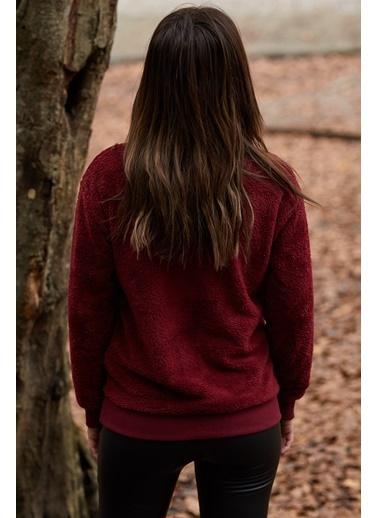 XHAN Suni Kürk Kanguru Cep Fermuarlı Sweatshirt 9Kxk8-40193-05 Bordo